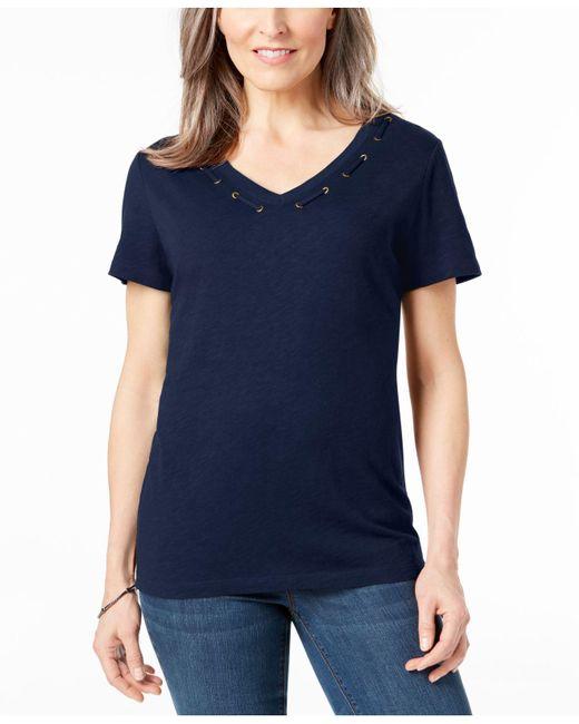 Karen Scott - Blue Cotton Grommet-detail Top, Created For Macy's - Lyst