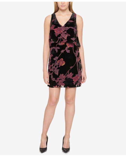 Jessica Simpson | Black Velvet Popover Shift Dress | Lyst