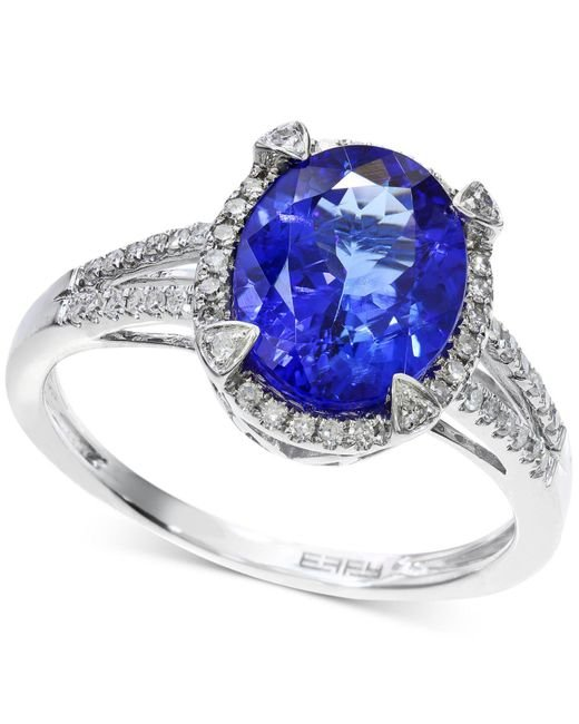 Macy's - Tanzanite (2-5/8 Ct. T.w.) And Diamond (1/4 Ct. T.w.) Ring In 14k White Gold - Lyst