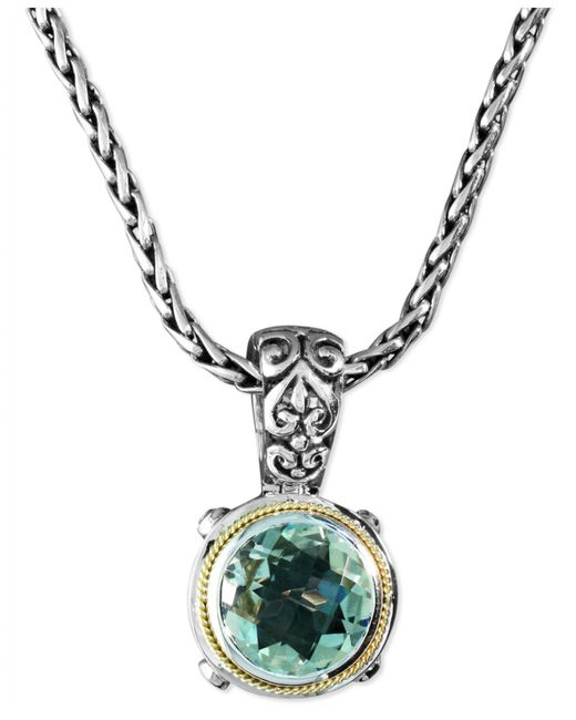 Effy Collection - Metallic Green Quartz Round Pendant (5 Ct. T.w.) In Sterling Silver And 18k Gold - Lyst