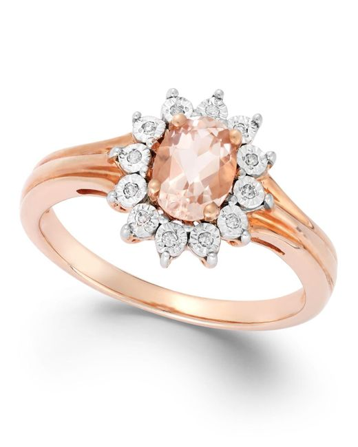 Macy's | Pink Morganite (5/8 Ct. T.w.) And Diamond Accent Ring In 10k Rose Gold | Lyst