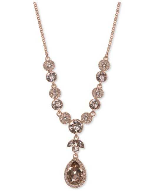 Givenchy - Metallic Multi-crystal Lariat Necklace - Lyst