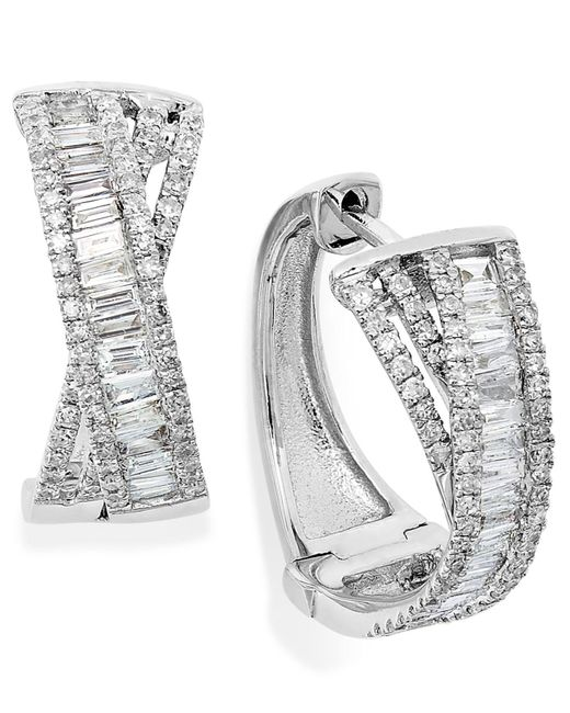 Effy Collection | Metallic Diamond Crossover Hoop Earrings In 14k White Gold (1 Ct. T.w.) | Lyst