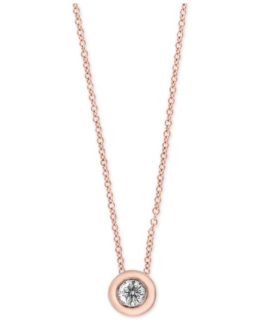 Effy Collection   Metallic Diamond Bezel Solitaire Pendant Necklace (1/5 Ct. T.w.)   Lyst