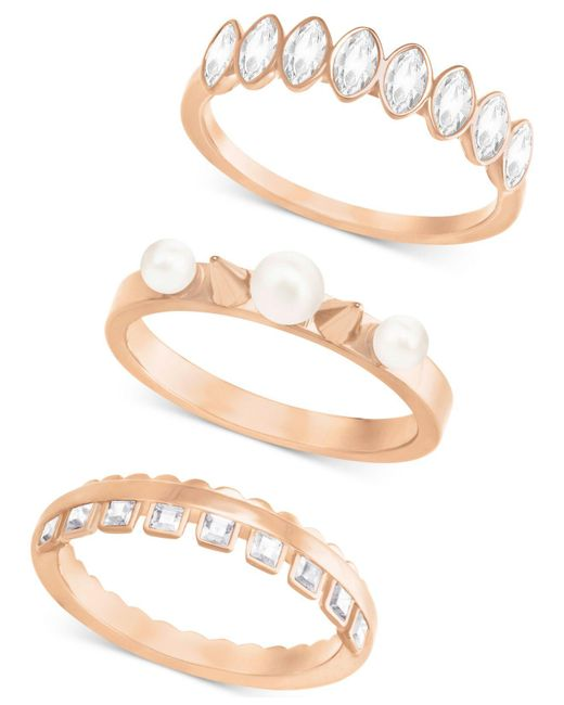Swarovski | Metallic Rose Gold-tone 3-pc. Set Imitation Pearl And Crystal Rings | Lyst