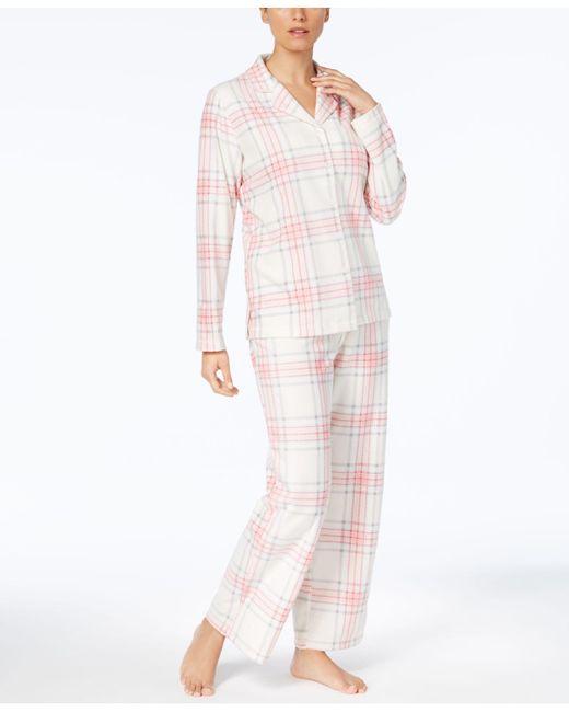 Charter Club - Pink Printed Fleece Pajama Set - Lyst