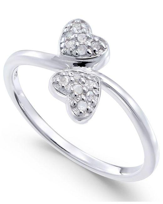 Macy's - Metallic Diamond Double Heart Ring (1/10 Ct. T.w) In Sterling Silver - Lyst