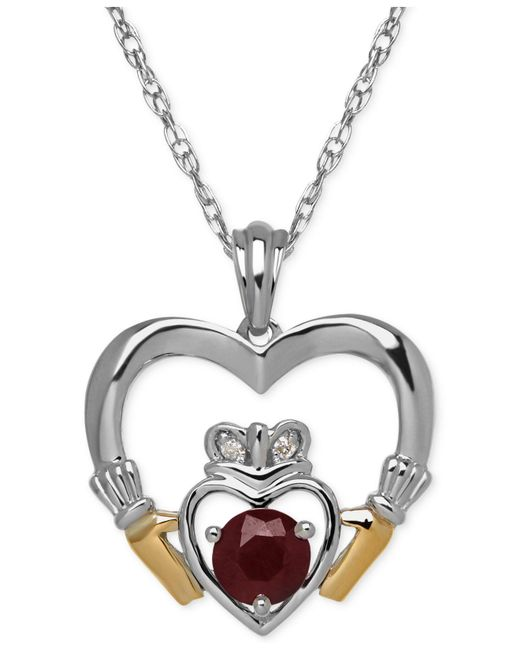 Macy's - Metallic Ruby (5/8 Ct. T.w.) And Diamond Accent Heart Pendant Necklace In Sterling Silver And 14k Gold - Lyst