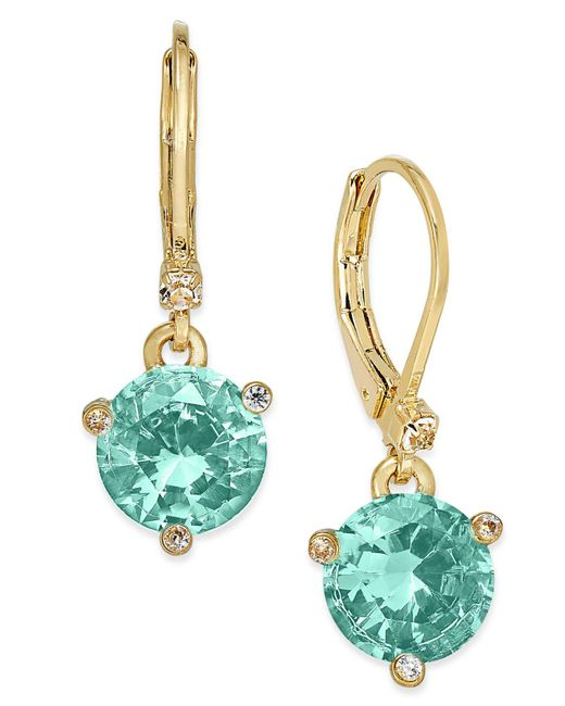 Kate Spade - Multicolor Gold-tone Blue Crystal Drop Earrings - Lyst