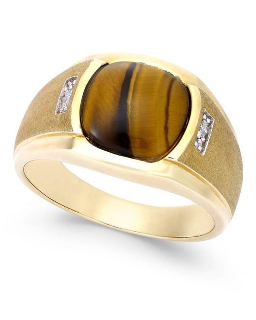 Macy's - Metallic Men's Tiger Eye (10mm) And Diamond Accent Ring In 10k Gold - Lyst