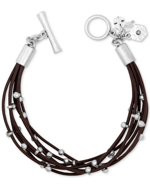 Lucky Brand | Metallic Silver-tone Leather Bracelet | Lyst