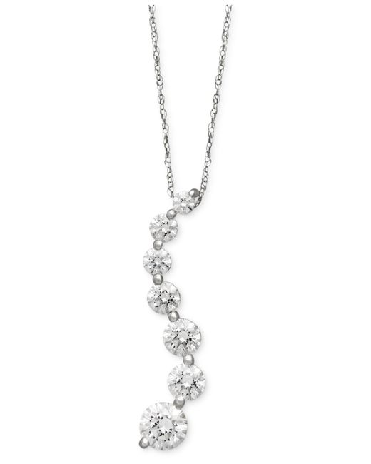 Arabella | 14k White Gold Necklace, Swarovski Zirconia Journey Pendant (4-5/8 Ct. T.w.) | Lyst