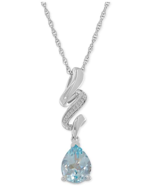 Macy's - Metallic Aquamarine (1-3/4 Ct. T.w.) And Diamond Accent Swirly Pendant Necklace In Sterling Silver - Lyst