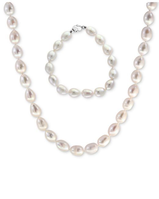 Effy Collection | Metallic Cultured Freshwater Pearl (8-1/2mm) Strand Necklace & Bracelet Set | Lyst