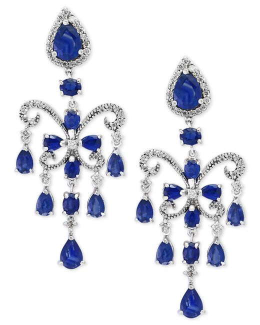 Effy Collection - Blue Effy Sapphire (7-1/2 Ct. T.w.) And Diamond (5/8 Ct. T.w.) Chandelier Earrings In 14k White Gold - Lyst