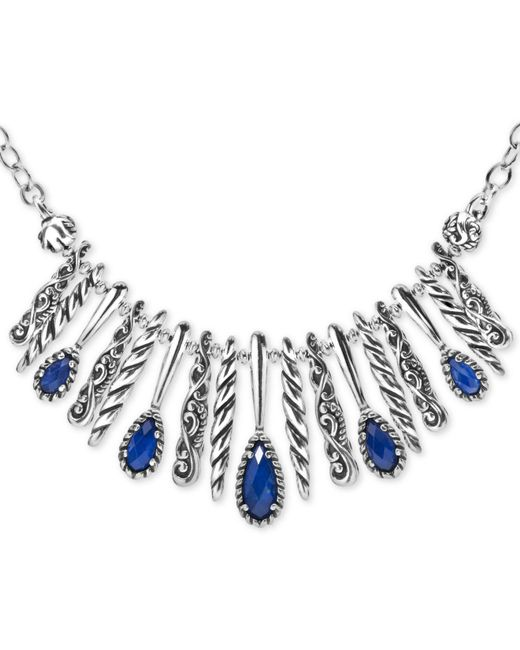 "Carolyn Pollack - Metallic Lapis Lazuli/rock Crystal Doublet Statement Necklace In Sterling Silver, 17"" + 3"" Extender - Lyst"