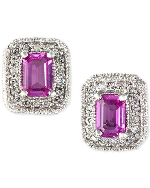 Effy Collection | Pink Sapphire (1-1/8 Ct. T.w.) And Diamond (1/4 Ct. T.w.) Stud Earrings In 14k White Gold | Lyst