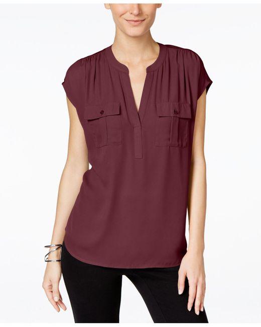 INC International Concepts | Red Dolman-sleeve Mixed-media Utility Shirt | Lyst