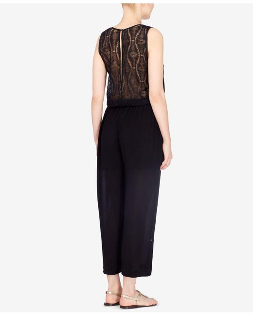 Catherine Malandrino   Black Embroidered Cropped Jumpsuit   Lyst