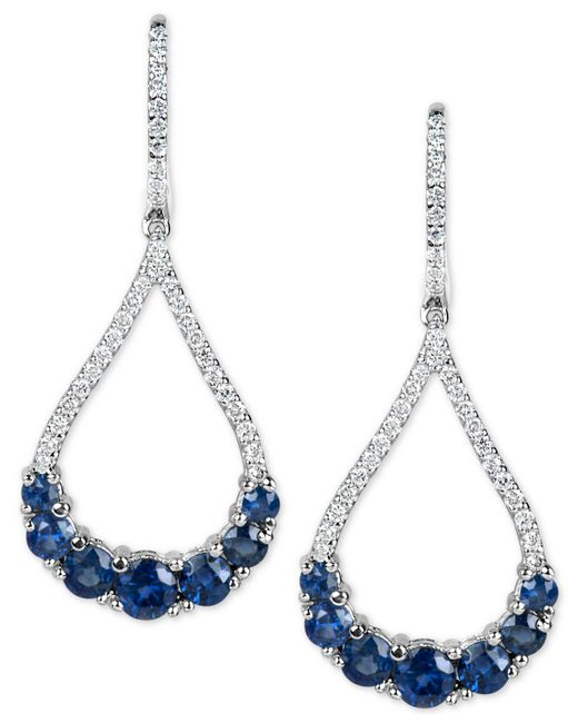 Macy's | Metallic Sapphire (2-3/4 Ct. T.w.) And Diamond (1/2 Ct. T.w.) Fancy Drop Earrings In 14k White Gold | Lyst