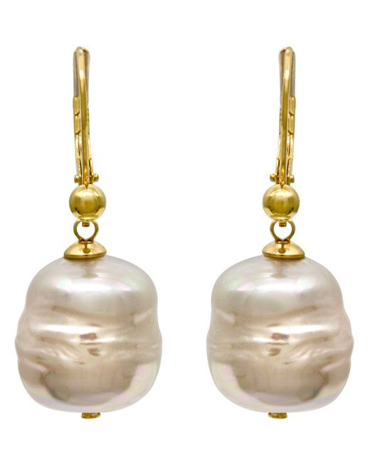 Majorica | Metallic 18k Gold Over Sterling Silver Earrings, Imitation Baroque Pearl Drop | Lyst