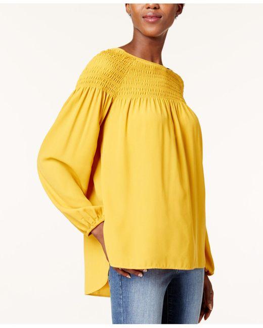 Kensie | Yellow Smocked Poet Top | Lyst