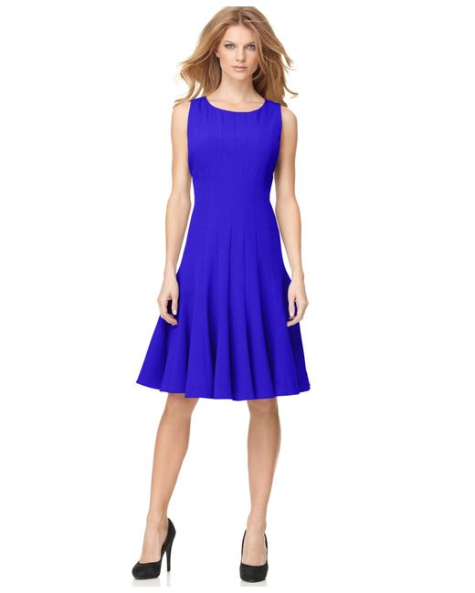 Calvin Klein Petite Sleeveless Seamed Dress In Blue (Byzantine) | Lyst