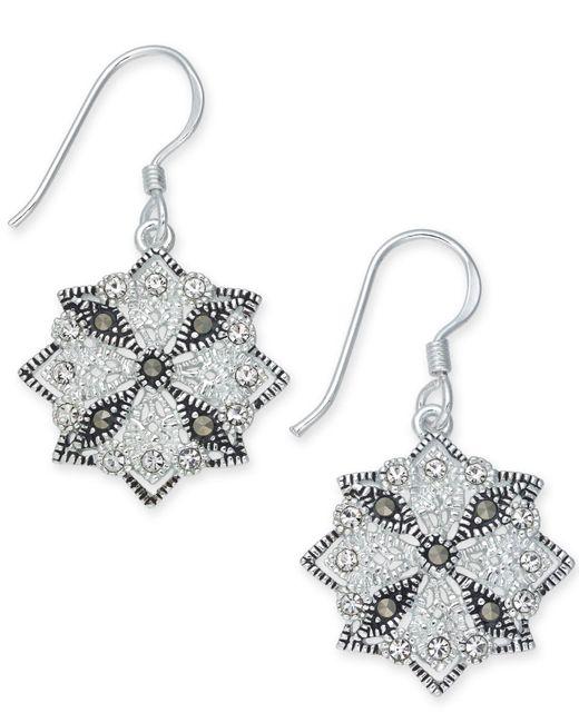 Macy's | Metallic Marcasite (1-1/3 Ct. T.w.) & Crystal Drop Earrings In Fine Silver-plate | Lyst
