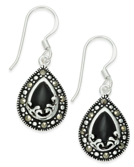 Macy's | Metallic Onyx (1-9/10 Ct. T.w.) & Marcasite Drop Earrings In Fine Silver-plate | Lyst