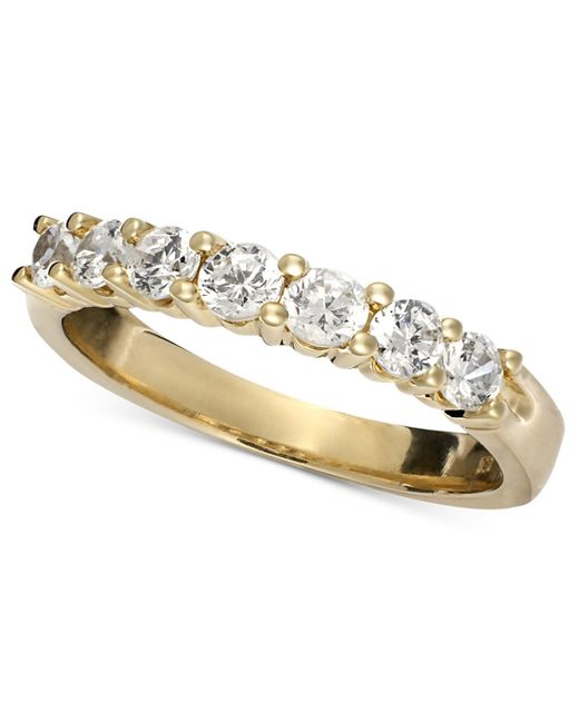 Macy's | Metallic Seven Diamond Band Ring In 14k Gold (3/4 Ct. T.w.) | Lyst