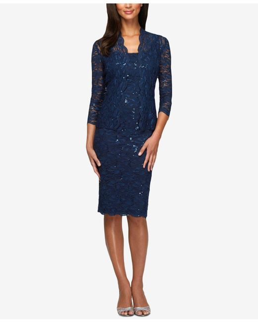 Alex Evenings | Blue Sleeveless Sequin Lace Sheath And Jacket | Lyst