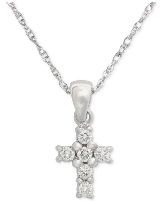 Macy's | Metallic Cross Diamond Pendant Necklace In 14k White Gold (1/8 Ct. T.w.) | Lyst