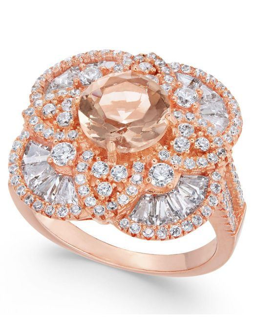 Macy's - Metallic Synthetic Morganite & Cubic Zirconia Filigree Floral Ring In 14k Rose Gold-plated Sterling Silver - Lyst