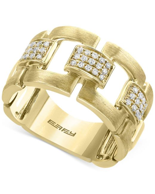 Effy Collection - Metallic Diamond Link Statement Ring (1/5 Ct. T.w.) In 14k Gold - Lyst