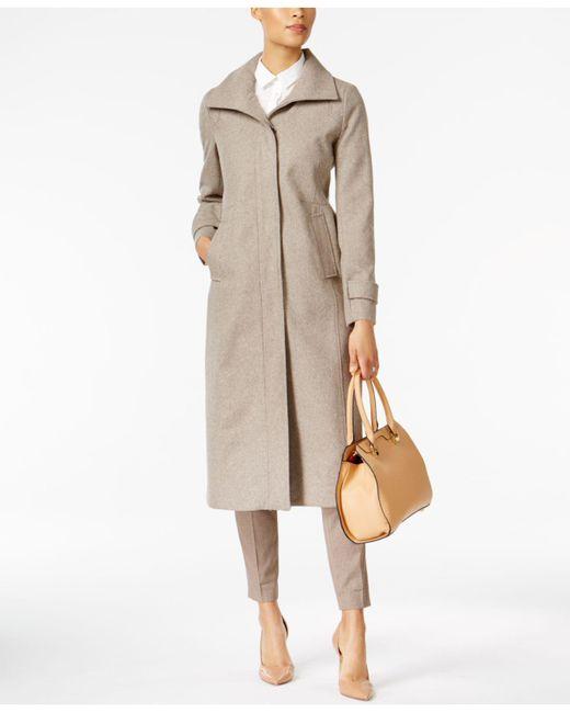 Jones New York   Natural Stand-collar Maxi Coat   Lyst
