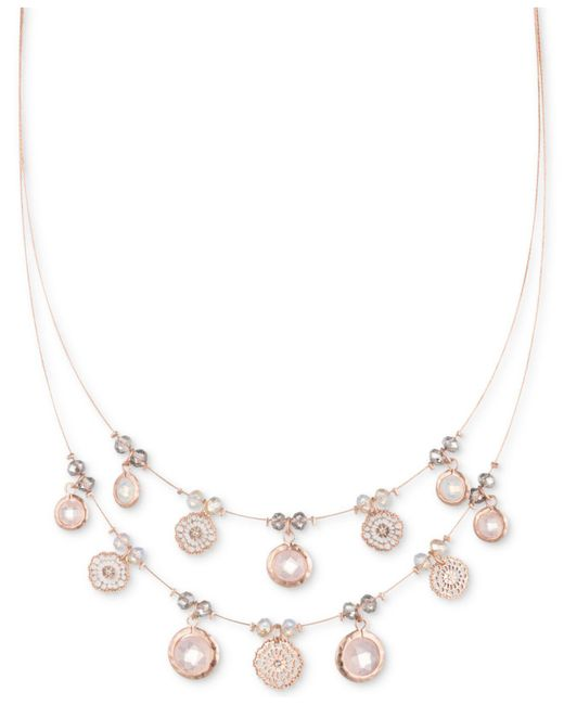 """Lonna & Lilly - Metallic Gold-tone Pavé & Stone Lace Coin Statement Necklace, 16"""" + 3"""" Extender - Lyst"""