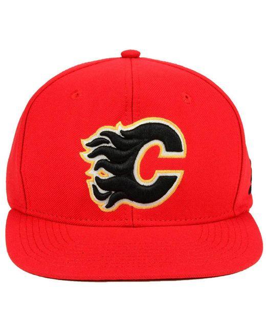 buy online 225ec 8cf4a ... sale adidas red calgary flames core snapback cap for men lyst 1f5ad  47473