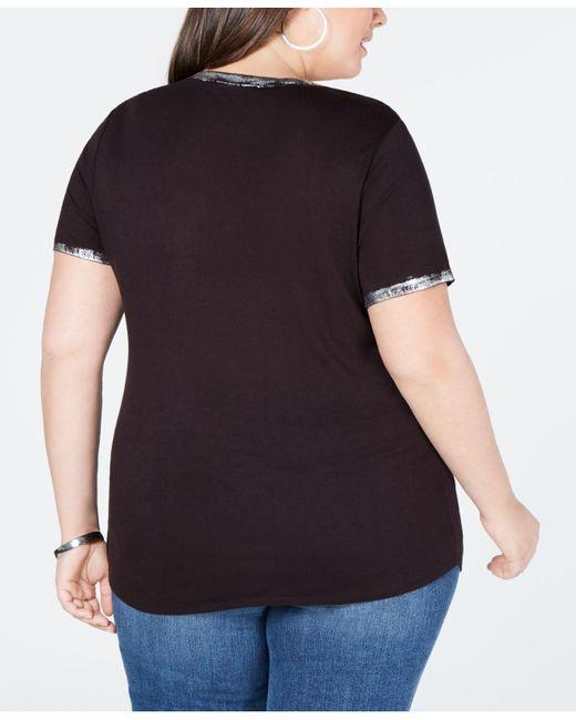 2b94d2ce52d ... Created INC International Concepts - Black I.n.c. Plus Size Foil-print  T-shirt