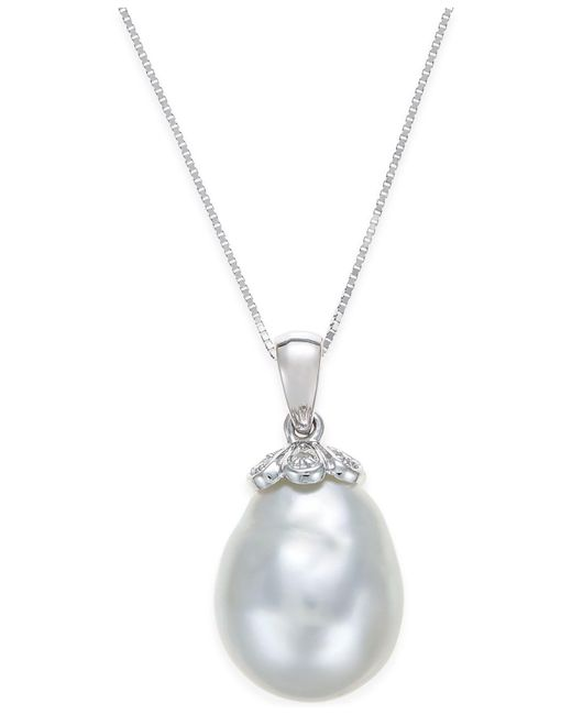 Macy's - Metallic Cultured South Sea Baroque Pearl (11mm) And Diamond Accent Pendant Necklace In 14k White Gold - Lyst