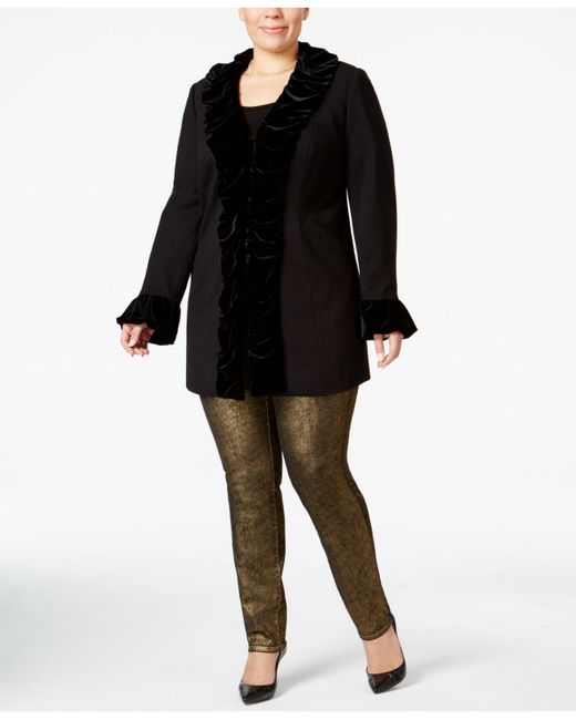 INC International Concepts - Black Plus Size Velvet Ruffle Coat - Lyst