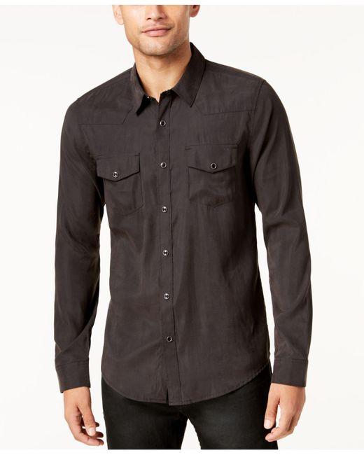 Guess   Black Men's Sandwashed Western Shirt for Men   Lyst