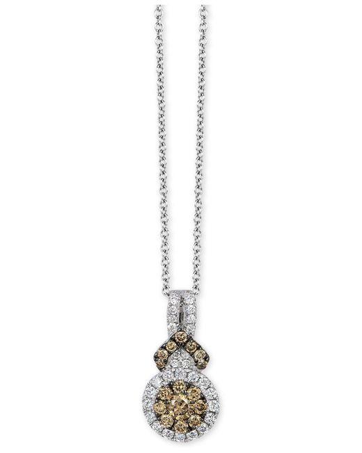 "Le Vian - Metallic Chocolatier® Diamond Halo 18"" Pendant Necklace (3/8 Ct. T.w.) In 14k White Gold - Lyst"