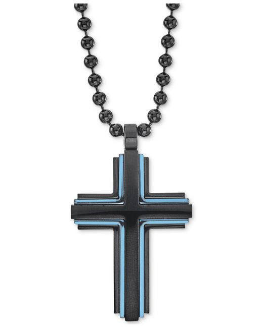 "Macy's - Two-tone Beaded Cross 22"" Pendant Necklace In Matte Black & Blue Ion-plated Stainless Steel - Lyst"