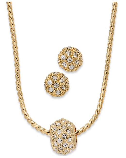 Charter Club - Metallic Gold-tone Crystal Necklace And Earring Jewelry Set - Lyst