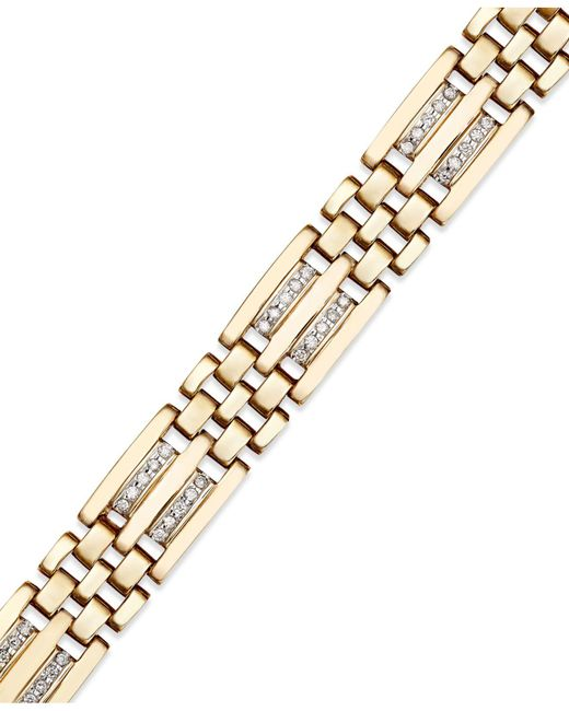 Macy's - Metallic Men's Diamond Bracelet In 10k Gold (1/4 Ct. T.w.) - Lyst