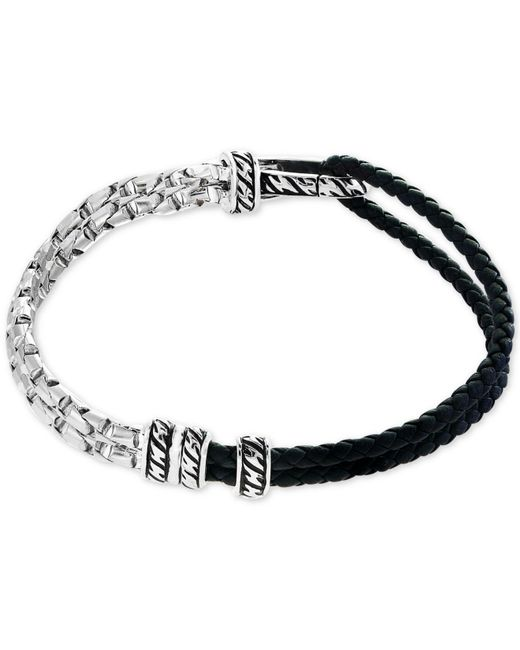Effy Collection | Metallic Men's Black Leather Hinged Bracelet In Sterling Silver for Men | Lyst