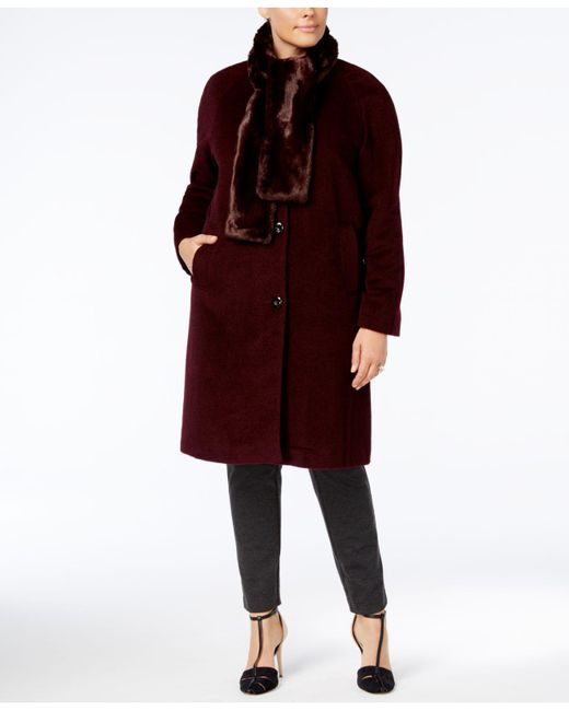 52caddd9869 Jones New York - Red Plus Size Walker Coat With Faux-fur Scarf - Lyst ...