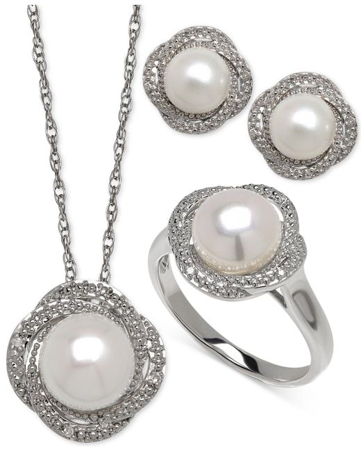 Macy's - Metallic Cultured Freshwater Pearl (7-8mm) And Diamond Accent Jewelry Set In Sterling Silver - Lyst