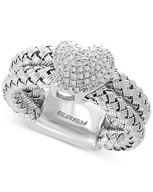 Effy Collection - Metallic Diamond Pavé Heart Double Band Ring (1/4 Ct. T.w.) In Sterling Silver - Lyst