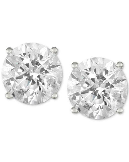 Macy's - Metallic Diamond Stud Earrings (3 Ct. T.w.) In 14k White Gold - Lyst